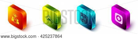 Set Isometric Spy, Agent, Police Car And Flasher, News And Hospital Signboard Icon. Vector