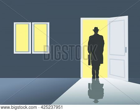 Black Silhouette Of A Business Man Walking Out The Door. Outside The Door Is Yellow