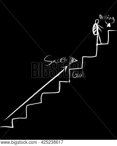 A Man Is Walking On The Stairs Of Success But He Already Passed What He Aimed For.