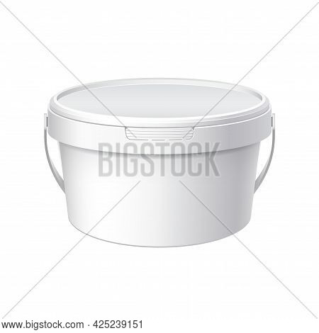 White Plastic Bucket With White Lid. Product Packaging