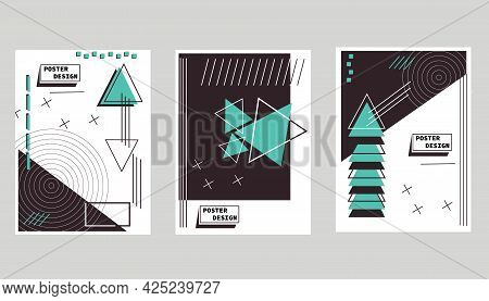 Covers Templates Set With Trendy Geometric Patterns. Abstract Shapes And Colors. Bright Flyer. Moder