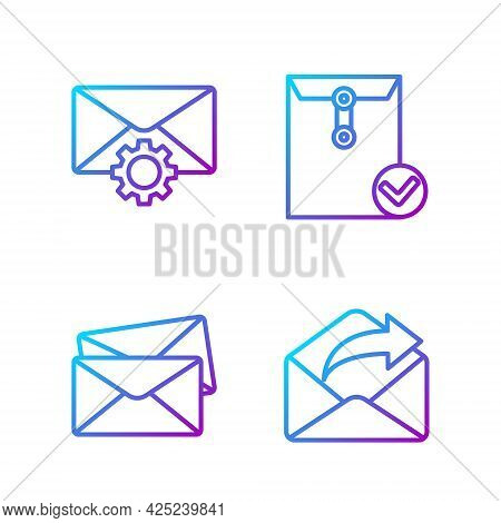 Set Line Outgoing Mail, Envelope, Envelope Setting And Envelope And Check Mark. Gradient Color Icons