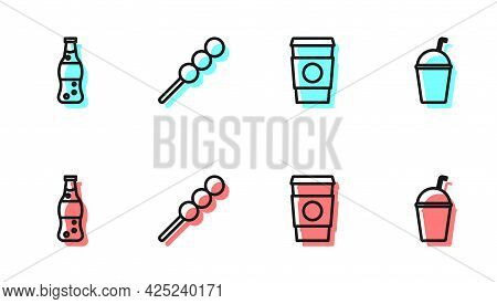 Set Line Coffee Cup To Go, Bottle Water, Meatballs On Wooden Stick And Milkshake Icon. Vector