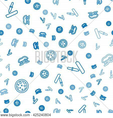 Set Line Petri Dish With Bacteria, Pipette And Genetically Modified Meat On Seamless Pattern. Vector