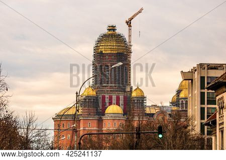 People's Salvation Cathedral (catedrala Mantuirii Neamului) Construction Site. Christian Orthodox Ca