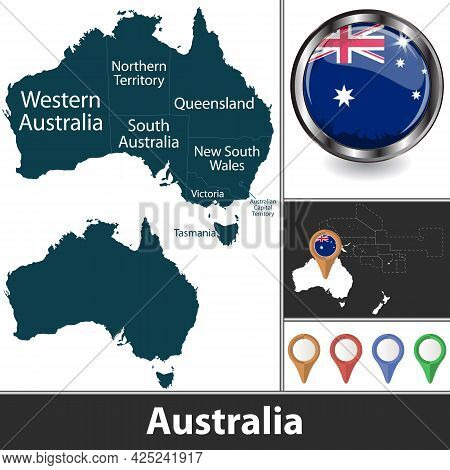 Map Of Australia With States And Territories And Location On Oceanian Map. Vector Image