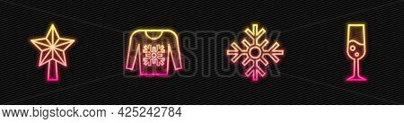Set Line Snowflake, Christmas Star, Sweater And Glass Of Champagne. Glowing Neon Icon. Vector