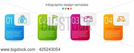 Set Line Golf Ball In Water, Flag, Sun Visor Cap And Car. Business Infographic Template. Vector