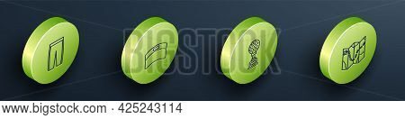 Set Isometric Line Golf Pants, Sun Visor Cap, Award Cup With Golf And Course Layout Icon. Vector