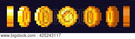 Pixel Game Coins Animation. Golden Pixelated Coin. 16 Bit Pixels Gold And Video Games. Golden Coins