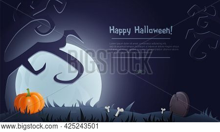 Happy Halloween Background For Design With Creepy Tree, Graveyard And Moon