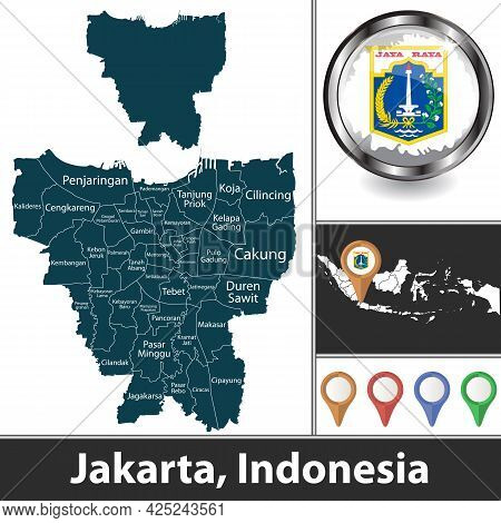 City Of Jakarta With Municipalities And Location On Indonesian Map. Vector Image