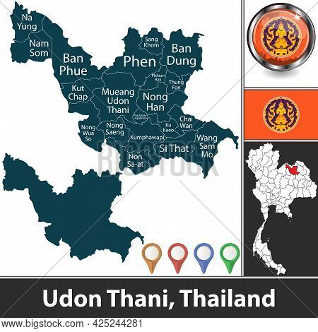 Map Of Udon Thani Province With Districts And Location On Thai Map. Vector Image