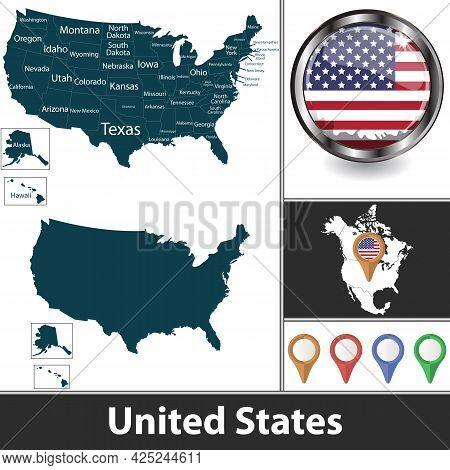Map Of United States With States And Location On North American Map. Vector Image