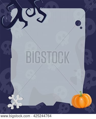 Halloween Background With Empty Sheet Of Paper, Pumpkin, Bones And Creepy Tree Branches