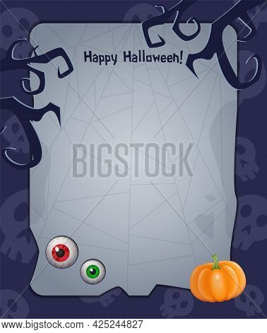 Halloween Background With Empty Sheet Of Paper, Pumpkin, Eyes And Creepy Tree Branches