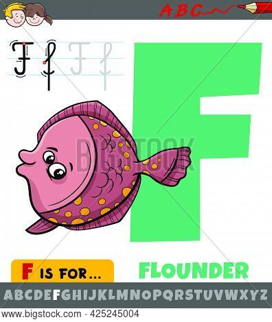 Educational Cartoon Illustration Of Letter F From Alphabet With Flounder Fish Animal Character