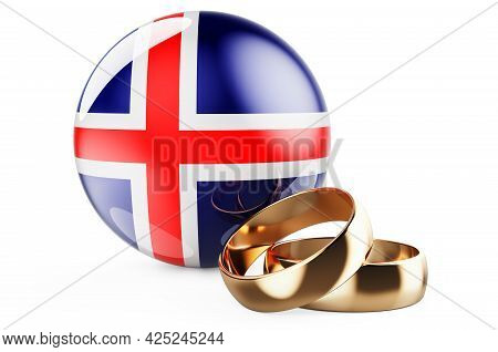Weddings In Iceland Concept. Wedding Rings With Icelandic Flag. 3d Rendering Isolated On White Backg