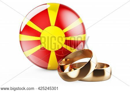 Weddings In Macedonia Concept. Wedding Rings With Macedonian Flag. 3d Rendering Isolated On White Ba