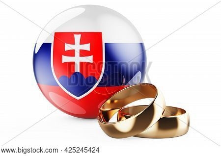 Weddings In Slovakia Concept. Wedding Rings With Slovak Flag. 3d Rendering Isolated On White Backgro