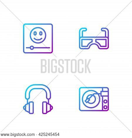 Set Line Vinyl Player With Vinyl Disk, Headphones, Music And Glasses. Gradient Color Icons. Vector
