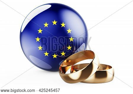 Weddings In The European Union Concept. Wedding Rings With The Eu Flag. 3d Rendering Isolated On Whi
