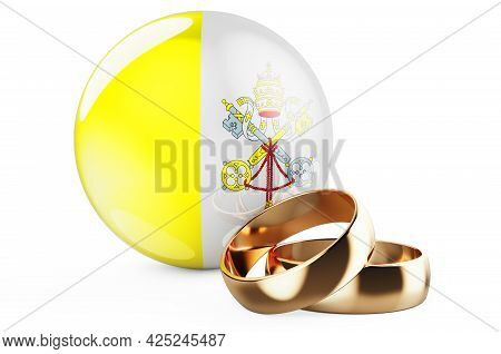 Weddings In Vatican Concept. Wedding Rings With Vatican Flag. 3d Rendering Isolated On White Backgro