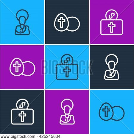 Set Line Jesus Christ, Donation For Church And Easter Egg Icon. Vector