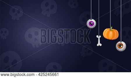 Happy Halloween Background For Design With Hanging Eyes, Pumpkin And Bones
