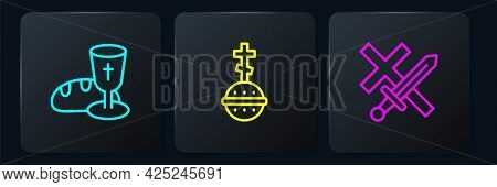 Set Line Goblet And Bread, Crusade And Christian Cross. Black Square Button. Vector