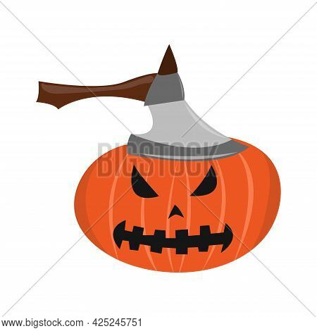 Pumpkin With Ax With Terrible Face. Halloween Pumpkin. Happy Halloween Holiday. Decoration For Horro