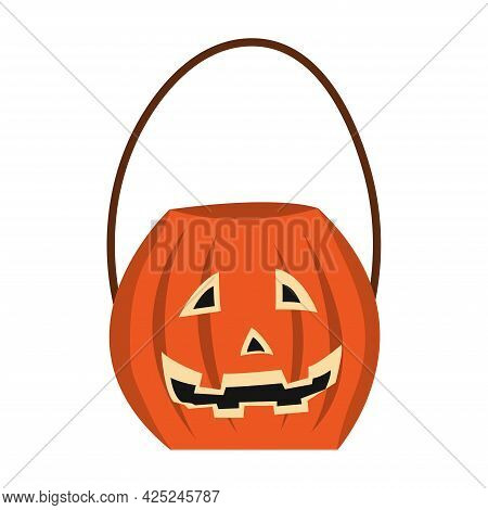 Pumpkin Bag For Collecting Sweets For Halloween. Halloween Pumpkin. Happy Halloween Holiday. Decorat