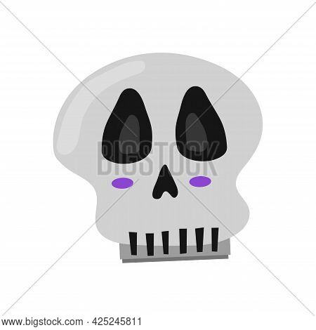 Isolated Skull For Halloween On White Background. Happy Halloween Holiday. Decoration For Horror Nig