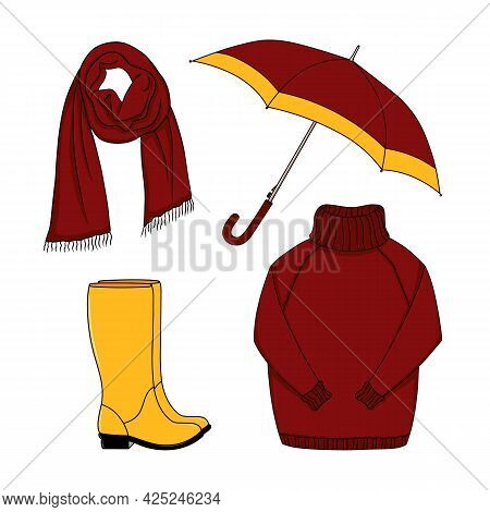 Cartoon Set Of Yellow Red Outdoor Clothes And Accessory For Autumn Cold Rainy Weather. Rubber Boots,