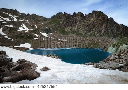 Mountain Lake Of Laroussa, In Stura Valley, Piedmont, Between Maritime Alps Park (italy) And Mercant