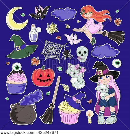 Stickers Halloween Collection Of Colorful Contours Of Holiday Elements With Witches And Cupcake For