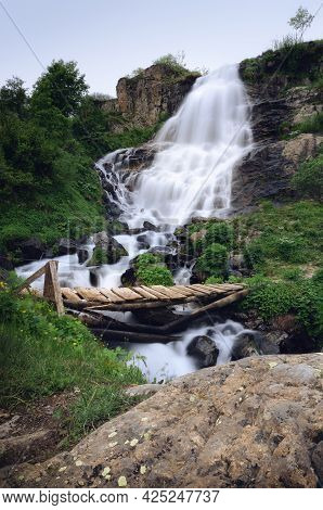 Famous Pisciai Waterfall In The Mountains Of Piedmont, Italy, On The Path To Refuge Migliorero, With