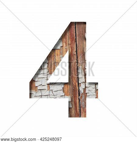 Vintage Backdrop Font. Digit Four, 4 Cut Out Of Paper Against The Background Of An Old Wooden Wall W