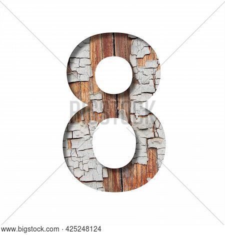 Vintage Backdrop Font. Digit Eight, 8 Cut Out Of Paper Against The Background Of An Old Wooden Wall