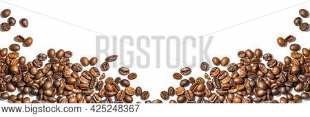 Wide Panorama Of Roasted Coffee Beans In The Form Of A Frame On White, Top View, Copy Space.