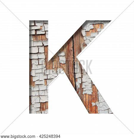 Vintage Backdrop Font.the Letter K Cut Out Of Paper Against The Background Of An Old Wooden Wall Wit