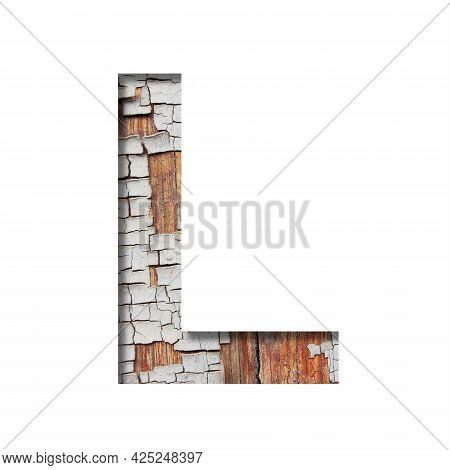 Vintage Backdrop Font.the Letter L Cut Out Of Paper Against The Background Of An Old Wooden Wall Wit