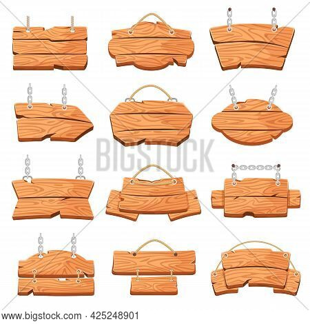 Hanging Wood Board. Cartoon Wooden Signboards Hang On Ropes Or Chains. Rustic Empty Message Banners,
