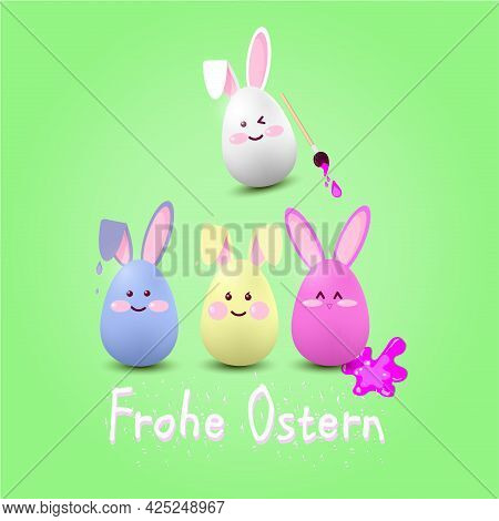 Easter Eggs-hares Of Blue, Red,white Color On A Green Background With The Inscription