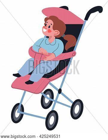Toddler Girl Sitting In Buggy, Small Kid In Pram