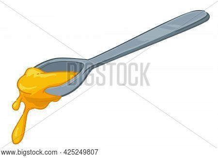 Metal Spoon With Dripping Honey Eating Nectar