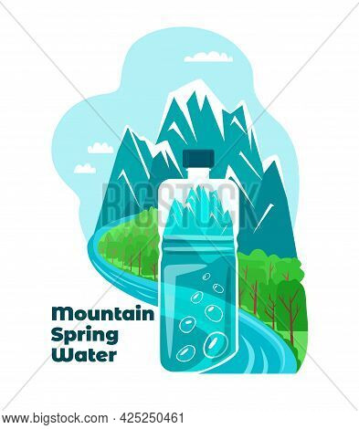 A Water Bottle Is Depicted Against Mountains.