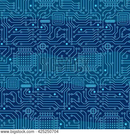 Seamless Pattern From A Computer Microcircuit. Blue Background From Microprocessors And Chips. Vecto