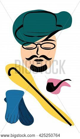Gentleman In Hat With Cane, Glasses, Tube And Gloves, Colored