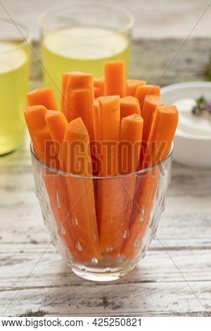 Fresh raw healthy carrot sticks as a snack